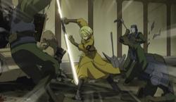 Alice fighting using mahne