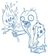 Unknown Prehistoric Hairy Zombie with a Flaming Tree Stick