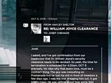 RE: WILLIAM JOYCE CLEARANCE