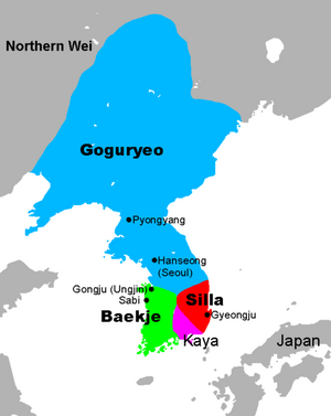 477px-Three Kingdoms of Korea Map