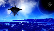 31001929-3D-render-of-a-fictional-space-background-with-a-floating-island-in-the-sky-Stock-Photo