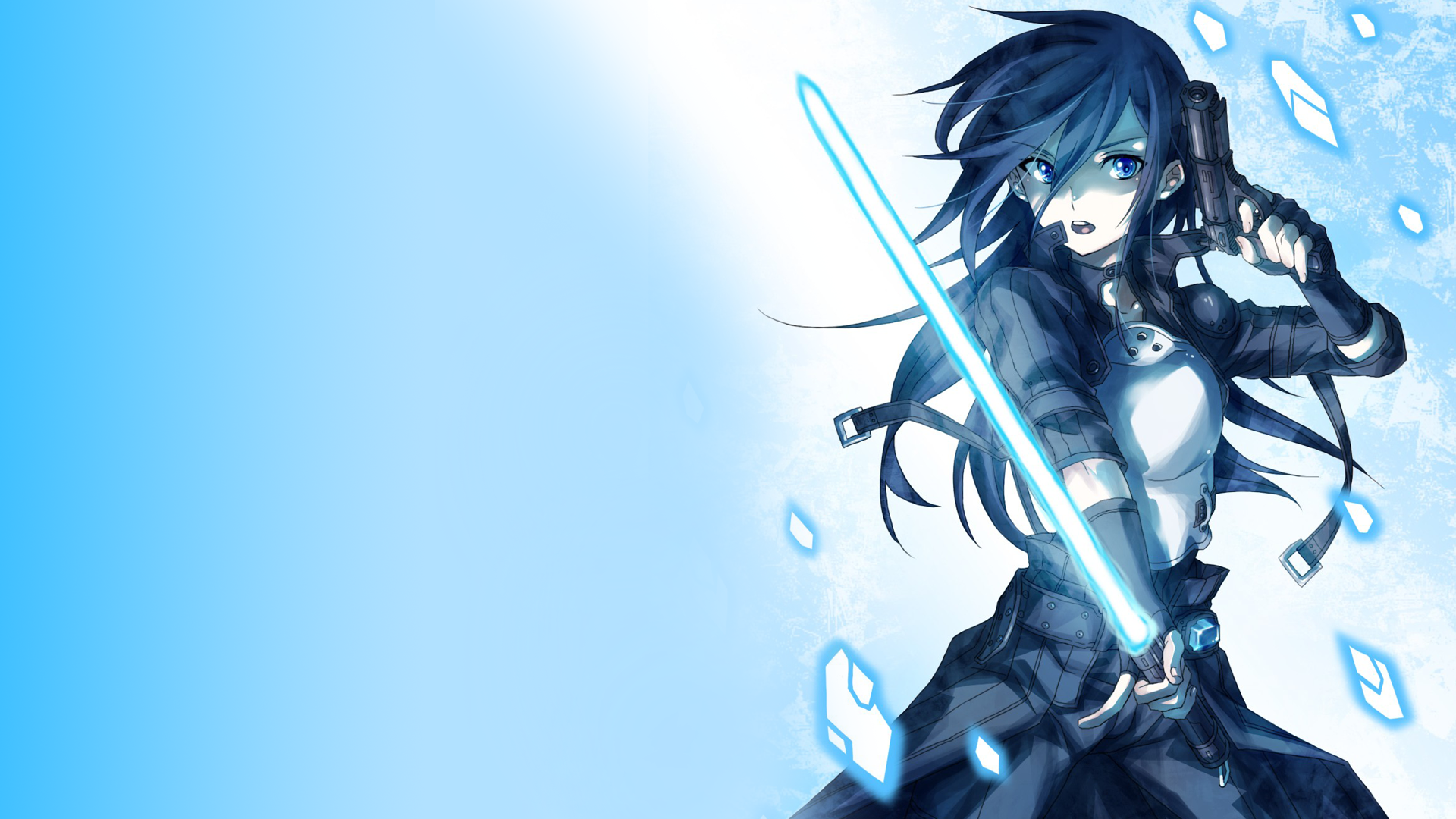 Anime Female Holding A Gun And Lightsaber