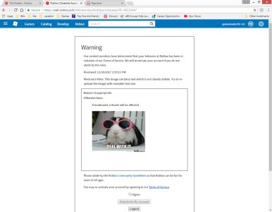 False Roblox Warningsbansterminations R2da Wikia - roblox ban yes