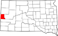 Map of South Dakota highlighting Lawrence County