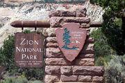 Zion National Park east entrance sign-20070724