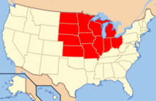 Map of USA Midwest