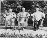L to R, British Prime Minister Winston Churchill, President Harry S. Truman, and Soviet leader Josef Stalin in the... - NARA - 198958