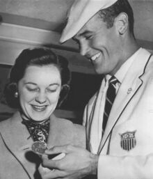 Bobby Morrow with wife 1956