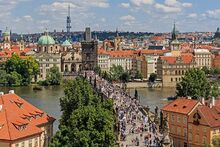 Prague 07-2016 view from Lesser Town Tower of Charles Bridge img3