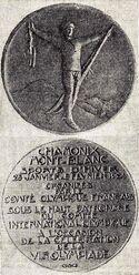 La médaille des Jeux Olympiques d'Hiver de Chamonix en 1924