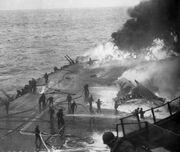 USS Saratoga Kamikaze hit 21 February 1945