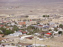 2012-10-08 View of downtown Ely in Nevada from the lower slopes of Ward Mountain