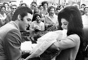 Elvis Presley and Priscilla with Lisa Marie February 1968