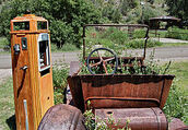 Old car, pump, Mogollon NM