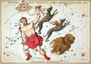 Sidney Hall - Urania's Mirror - Bootes, Canes Venatici, Coma Berenices, and Quadrans Muralis
