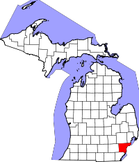 Map of Michigan highlighting Wayne County