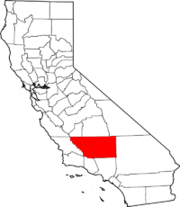 Map of California highlighting Kern County