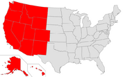 Map of USA highlighting West