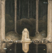John Bauer - Princess Tuvstarr gazing down into the dark waters of the forest tarn. - Google Art Project