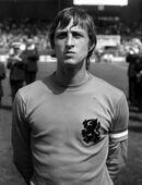 Oefeninterland Nederland tegen Argentinie 4-1; nr. 6, 7 Cruyff, kop