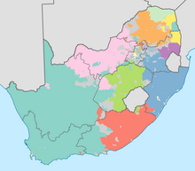 South Africa 2011 dominant language map
