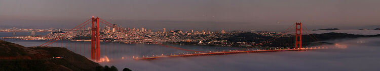 San Francisco with two bridges and the low fog