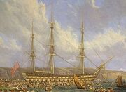 HMS Bellerophon and Napoleon-cropped