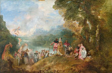L'Embarquement pour Cythere, by Antoine Watteau, from C2RMF retouched