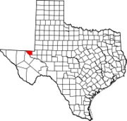 Map of Texas highlighting Loving County
