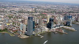 Jersey City from a helicopter