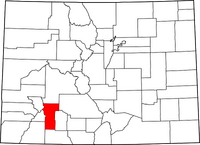 Map of Colorado highlighting Hinsdale County