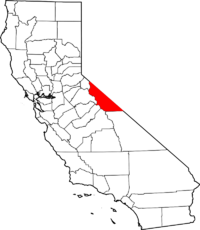 Map of California highlighting Mono County