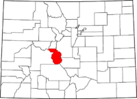 Map of Colorado highlighting Chaffee County