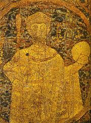 Portrayal of Stephen I, King of Hungary on the coronation pall