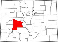 Map of Colorado highlighting Gunnison County