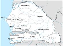 Senegal, administrative divisions - en - monochrome