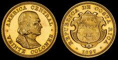 Costa Rica 1897 20 Colones (proof)