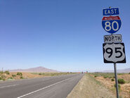 2014-06-12 12 44 04 Reassurance signs along eastbound Interstate 80 and northbound U.S. Route 95 in Rose Creek, Nevada
