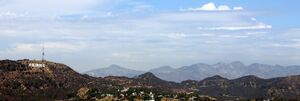 View towards Hollywood Sign and Hollywood Hills, Los Angeles