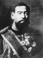 Black and white photo of emperor Meiji of Japan
