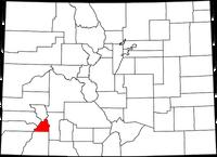 Map of Colorado highlighting San Juan County