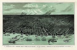 Bird's eye view of Detroit, Michigan, 1889 - . Calvert Lithographing Co.