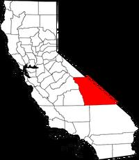 Map of California highlighting Inyo County
