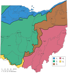 Geographic regions Ohio with numbers