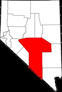 Map of Nevada highlighting Nye County
