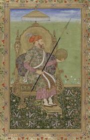 Portrait of the emperor Shajahan, enthroned.