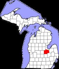 Map of Michigan highlighting Saginaw County