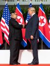 Kim and Trump shaking hands at the red carpet during the DPRK–USA Singapore Summit (cropped)