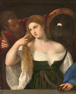 Portrait d'une Femme à sa Toilette, by Titian, from C2RMF retouched