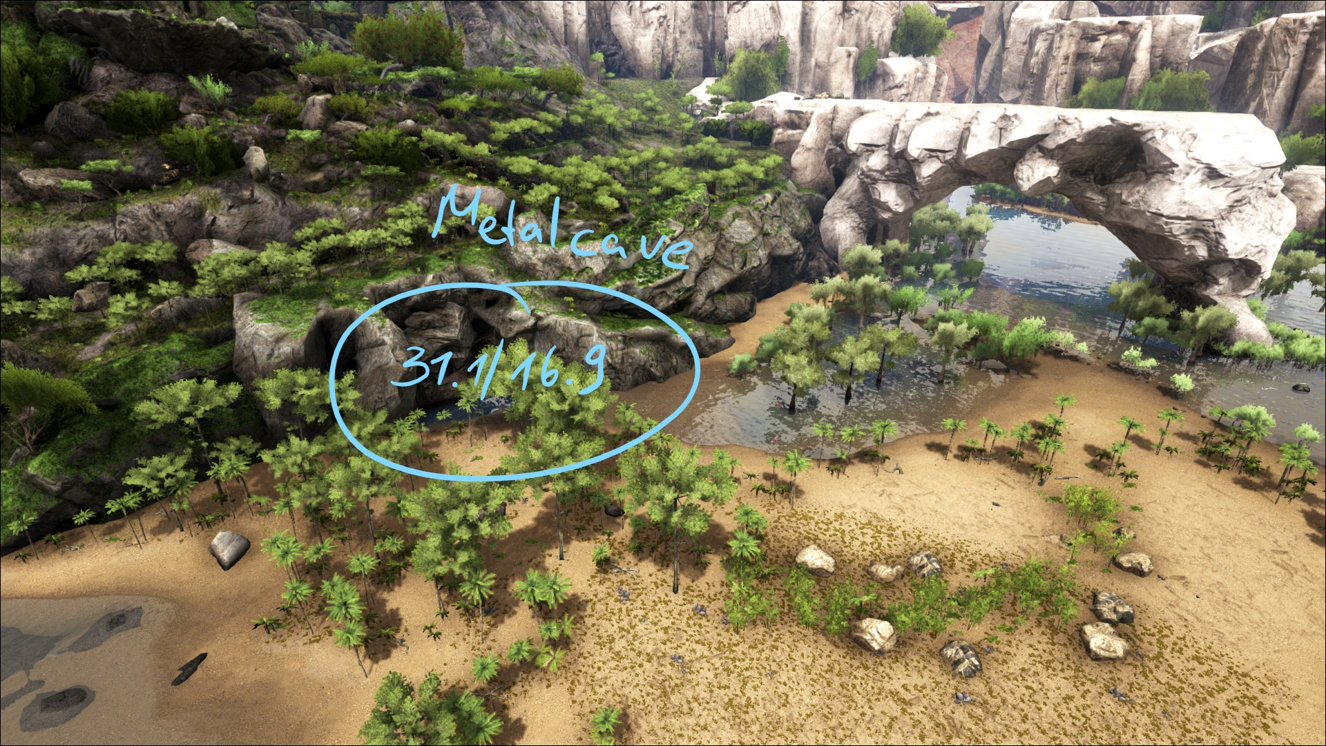 Metal cave ragnarok arksurvival evolved map wiki fandom you can find the cave by following the black rock inland that is placed on the peninsula malvernweather Choice Image